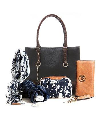 Black & Mahogany Ostrich Natalie Shopper & Essentials Box Set