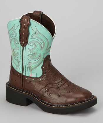 justin boots brown teal ostrich saddle cowboy boot