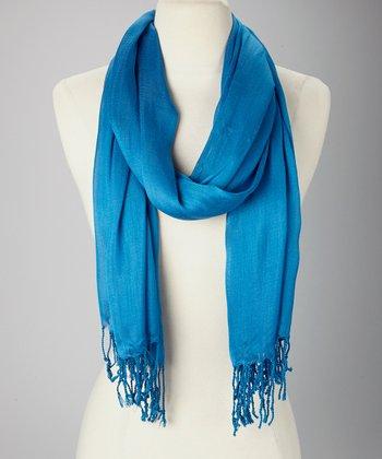 Sky Blue Silk-Blend Scarf