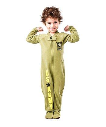 Green 'U.S. Army' Footie - Toddler