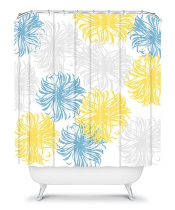Blue yellow shower curtain 2
