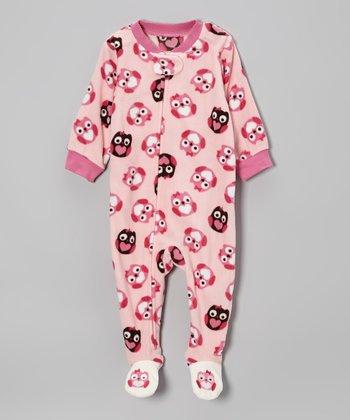 Pink Owl Microfleece Footie - Infant