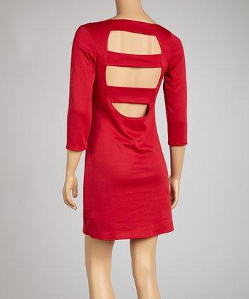 Red Cutout Three-Quarter Sleeve Dress