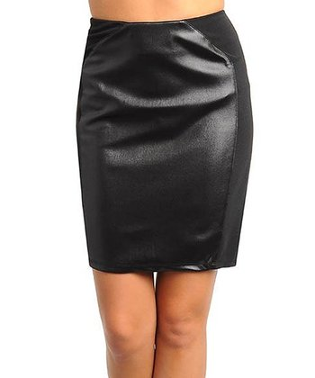 black faux leather mini skirt zulily
