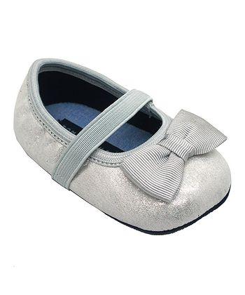 Silver Metallic Mini Tie Ballet Flat