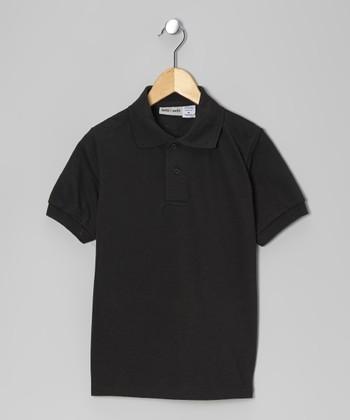Black Pique Polo - Boys