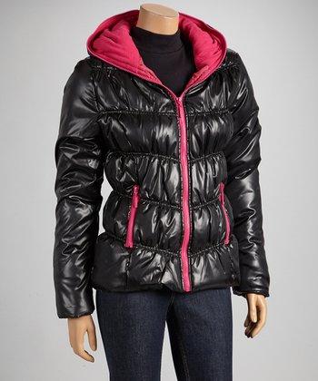 Black & Fuchsia Hooded Puffer Coat
