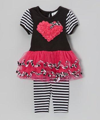 Fuchsia & Black Heart Dress & Stripe Leggings - Infant