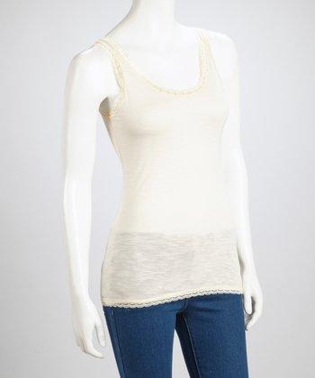 Cream Lace-Trim Top
