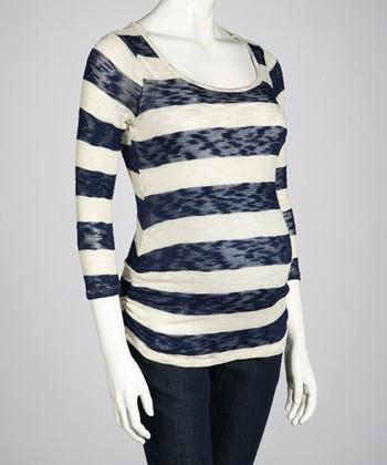 Navy & Ivory Stripe Maternity Three-Quarter Sleeve Top - Women