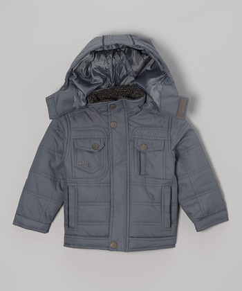 Gray Quilted Hooded Jacket - Boys