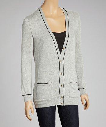 Gray Contrast Cardigan - Women