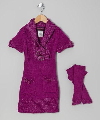 Purple Buckle Sweater Dress & Arm Warmers - Toddler