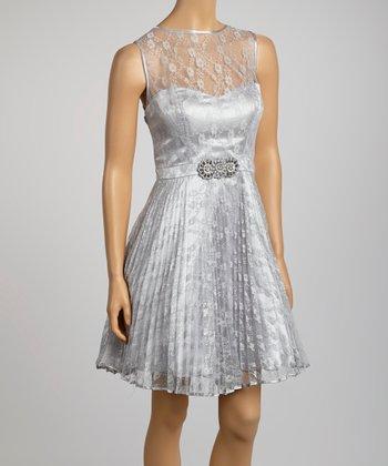 betsy adam silver lace faux belt sleeveless dress zulily