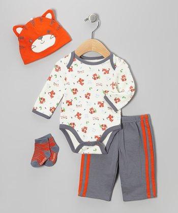 Orange Tiger Bodysuit Set
