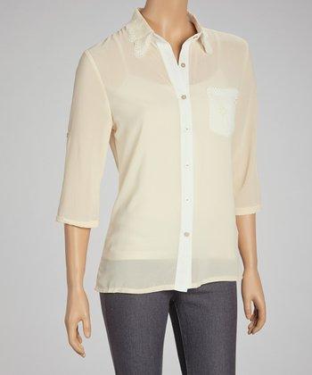 Beige & White Laser Cut Button-Up