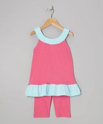 Hot Pink & Aqua Yoke Tunic & Leggings - Infant, Toddler & Girls
