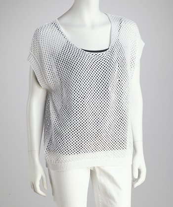 White Dropped-Shoulder Mesh Top