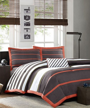 Gray orange stripe christina comforter set zulily - Orange and grey comforter ...