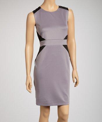Gray Color Block Scuba Sheath Cap-Sleeve Dress