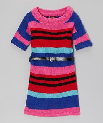 Rose Revival & Ultramarine Belted Sweater Dress - Toddler & Girls