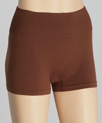 Brown High-Waist Shaping Shorts - Women & Plus