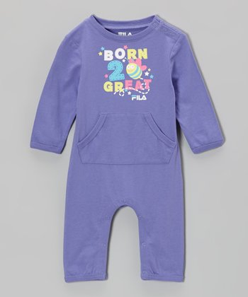 Purple 'Born to Be Great' Playsuit