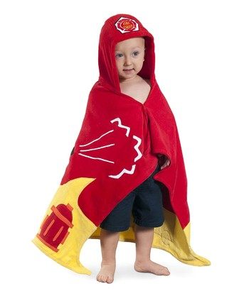 Red Firefighter Hooded Towel