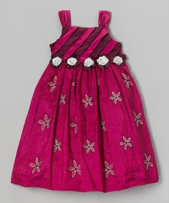 Fuchsia Stripe Pleated Bodice Dress - Toddler & Girls