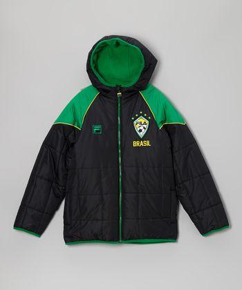 Green & Black 'Brasil' Puffer Coat - Boys
