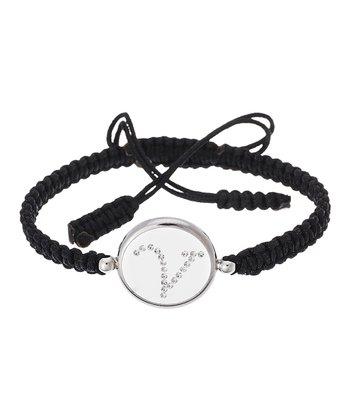 Black & Sterling Silver 'V' Initial Cord Bracelet