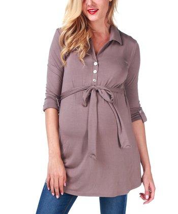 Mocha Button-Up Maternity & Nursing Top - Women