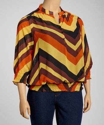 Brown & Red Zigzag Three-Quarter Sleeve Top - Plus