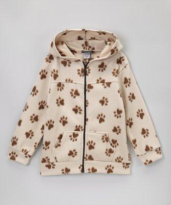 Khaki & Brown Paw Polar Fleece Zip-Up Hoodie - Kids