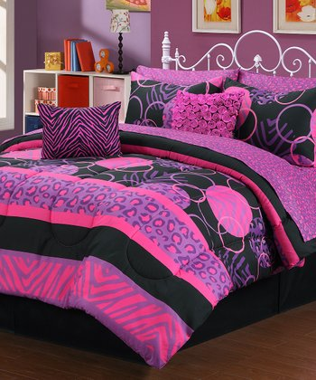 Beatrice home pink purple wild fashion bedding set zulily - Purple and pink comforter ...