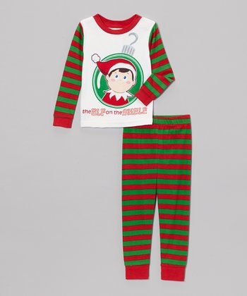 red green stripe elf on the shelf pajama set toddler. Black Bedroom Furniture Sets. Home Design Ideas