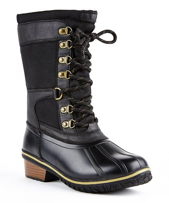 Model AXNY DYLAN3 Women Two Tone Lace Up Combat Style Ankle Rain DuckBoots