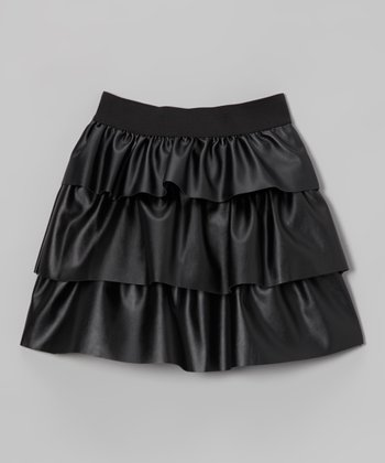 black faux leather tiered ruffle skirt toddler