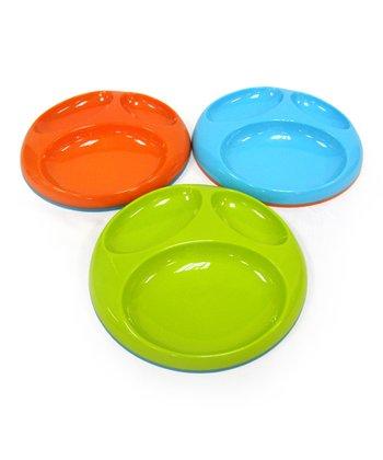 Blue, Green & Orange Stay-Put Plate Set