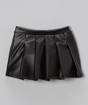 black faux leather pleated skirt toddler