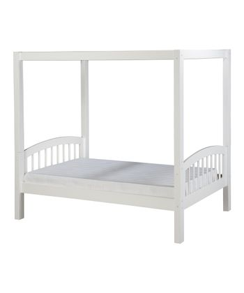 White Arch Spindle Canopy Bed
