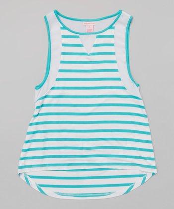 Aquarius & White Stripe Hi-Low Tank - Girls
