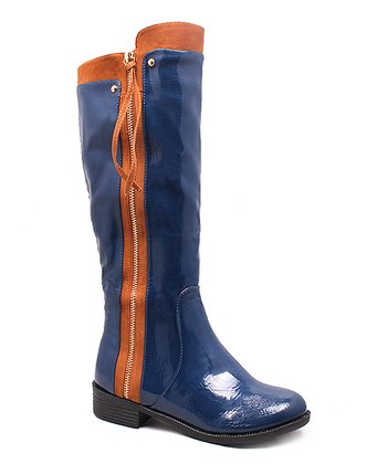 Navy Patent & Luggage Cory Boot