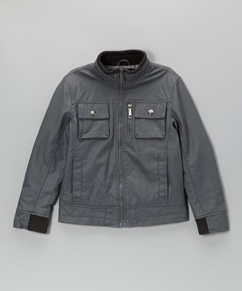 Charcoal Faux Nappa Leather Bomber Jacket - Toddler & Boys