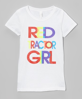 White 'Red Tractor Girl' Tee - Toddler & Girls