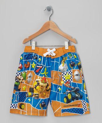 Orange & Blue Nintendo Boardshorts - Boys