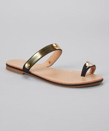 Black & Gold Toe Ring Burgess Sandal