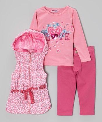 Pink Leopard Belted Vest Set - Infant