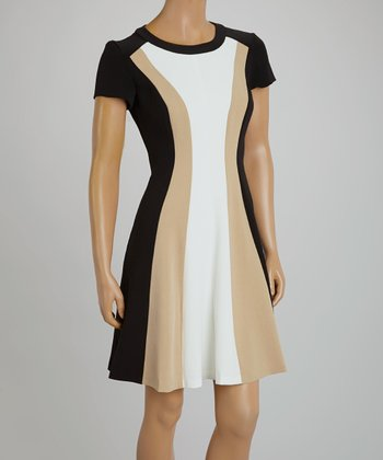 Black & Tan Panel Cap-Sleeve Dress - Women & Plus
