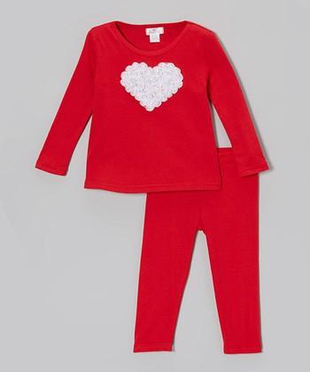 Red & White Ruffle Heart Top & Leggings - Infant